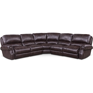 Dartmouth 5-Piece Power Reclining Sectional with 2 Reclining Seats - Burgundy