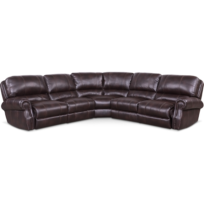 Living Room Furniture - Dartmouth 5-Piece Dual-Power Reclining Sectional with 3 Reclining Seats