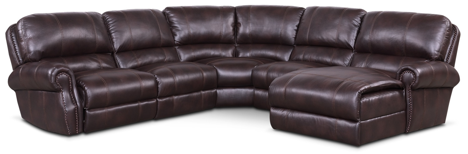 Living Room Furniture - Dartmouth 5-Piece Power Reclining Sectional with Right-Facing Chaise and 2 Recliners - Burgundy