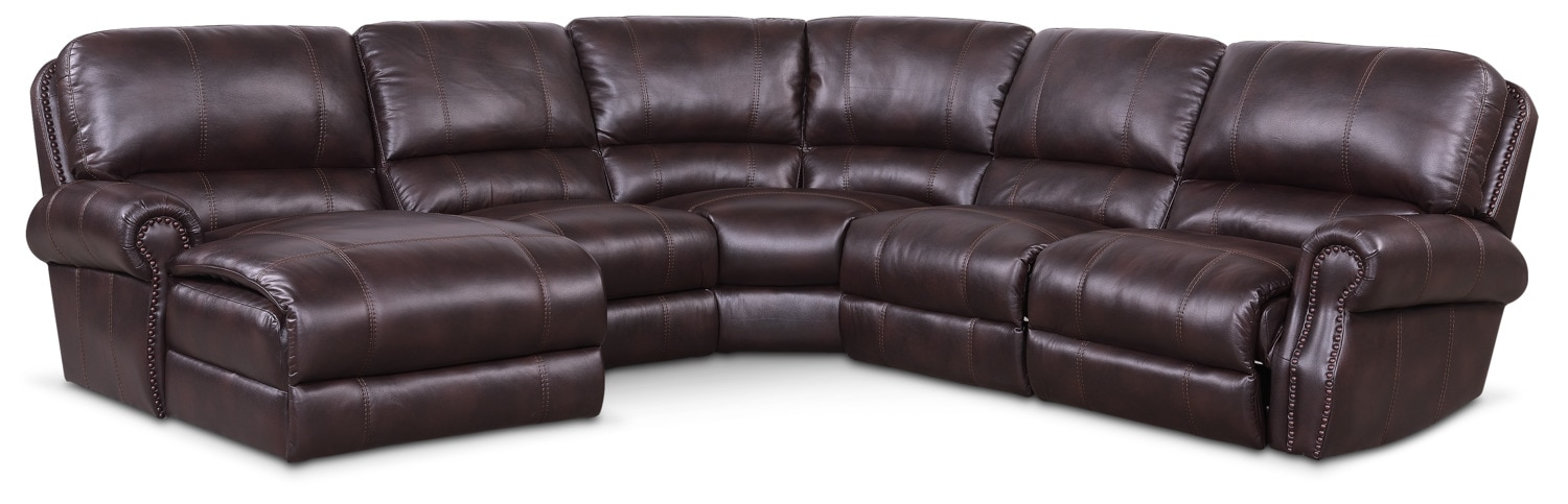 Living Room Furniture - Dartmouth 5-Piece Power Reclining Sectional with Left-Facing Chaise and 2 Recliners - Burgundy