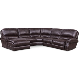 Dartmouth 5-Piece Dual-Power Reclining Sectional with Chaise and 2 Reclining Seats