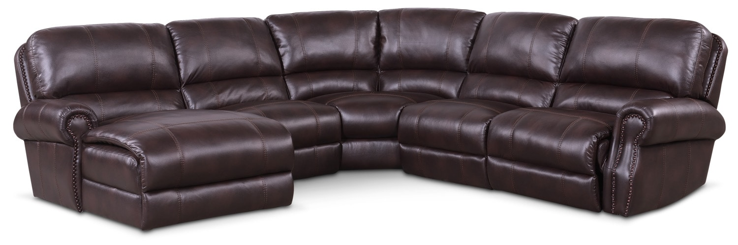 Living Room Furniture - Dartmouth 5-Piece Power Reclining Sectional with Left-Facing Chaise and 1 Recliner - Burgundy