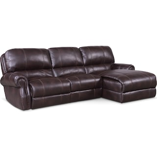 Dartmouth 3-Piece Power Reclining Sectional with Right-Facing Chaise - Burgundy