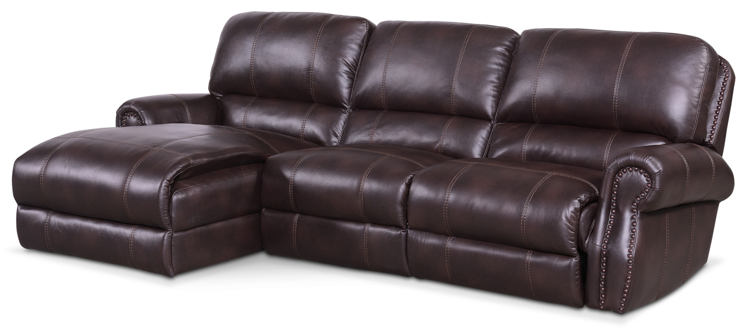 Living Room Furniture - Dartmouth 3-Piece Power Reclining Sectional with Chaise
