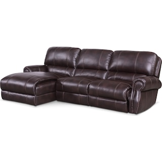 Dartmouth 3-Piece Power Reclining Sectional with Left-Facing Chaise - Burgundy