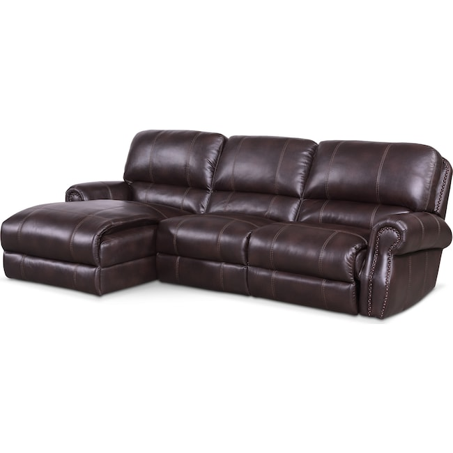 Living Room Furniture - Dartmouth 3-Piece Power Reclining Sectional with Left-Facing Chaise - Burgundy