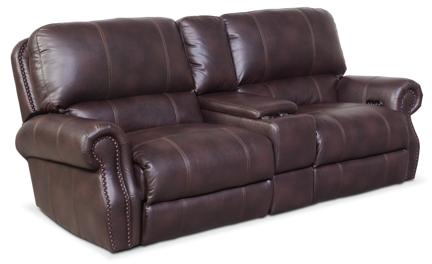 Living Room Furniture - Dartmouth 3-Piece Power Reclining Sofa with Console - Burgundy