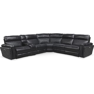 Catalina 6-Piece Power Reclining Sectional with 3 Reclining Seats - Black