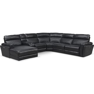 Catalina 6-Piece Power Reclining Sectional with Left-Facing Chaise and 1 Recliner - Black