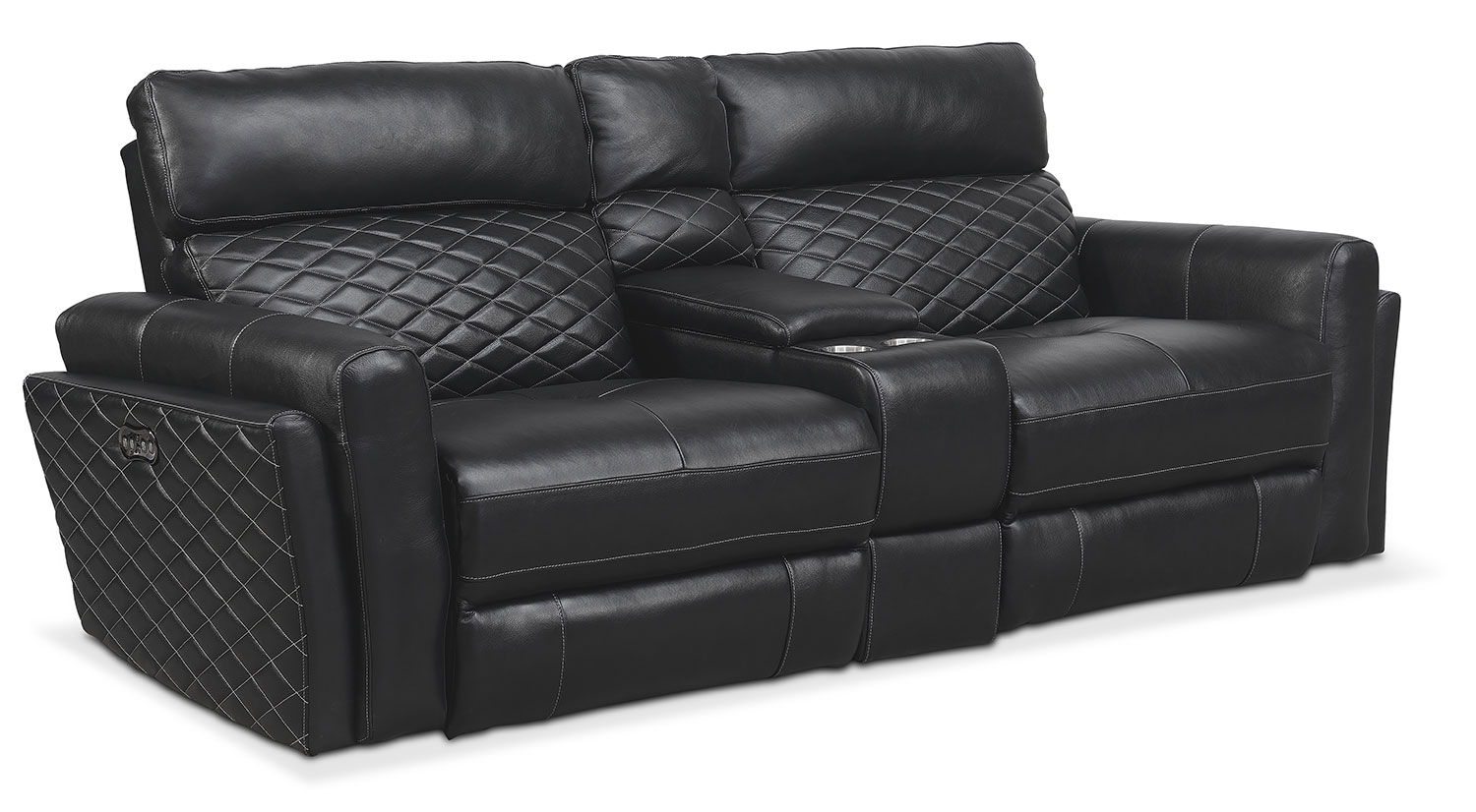 Living Room Furniture - Catalina 3-Piece Power Reclining Sectional - Black