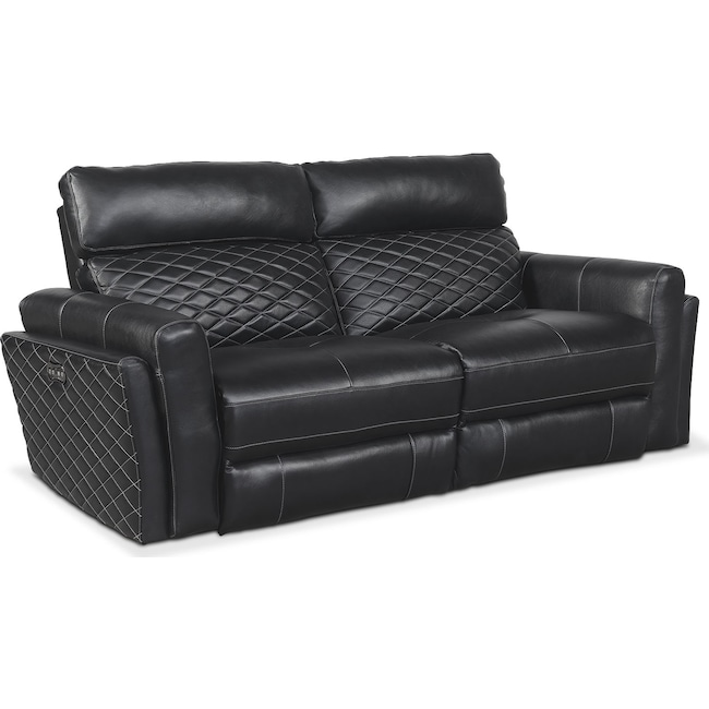 Living Room Furniture - Catalina 2-Piece Power Reclining Sofa - Black