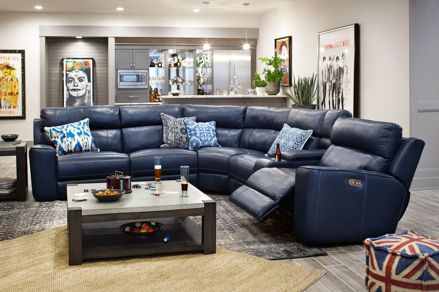newport 6 piece power reclining sectional with 3 reclining seats blue value city furniture. Black Bedroom Furniture Sets. Home Design Ideas