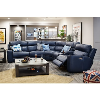 The Newport Collection   Blue. Leather Living Room Furniture   Value City Furniture and Mattresses