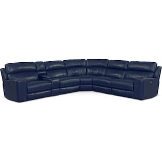 Newport 6-Piece Power Reclining Sectional with 3 Reclining Seats - Blue