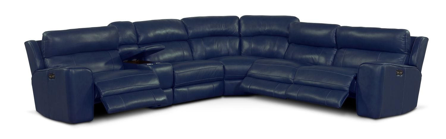 Newport 6 Piece Power Reclining Sectional With 3 Reclining