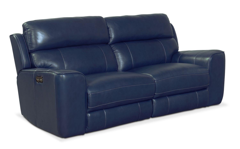 Newport 2 Piece Power Reclining Sofa   Blue