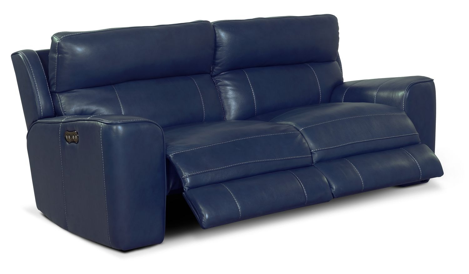 Blue Reclining Sofa Milano Blue Leather Plus Reclining