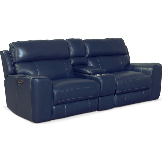 Living Room Furniture Newport 3 Piece Reclining Sofa Blue