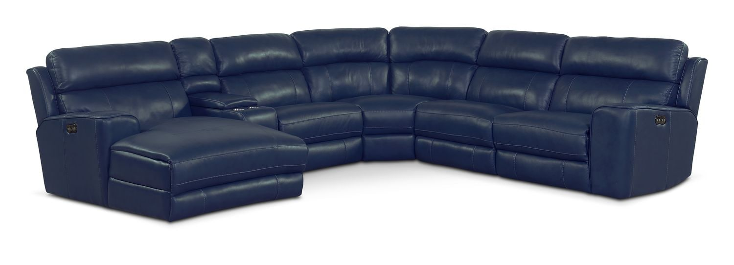Newport 6-Piece Power Reclining Sectional with Left-Facing Chaise and 2 Recliners - Blue
