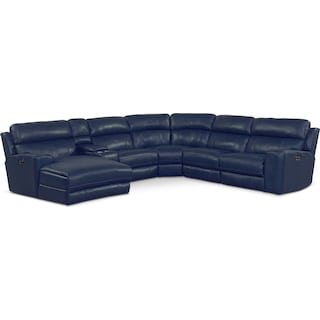 Newport 6-Piece Power Reclining Sectional with Left-Facing Chaise and 1 Recliner - Blue