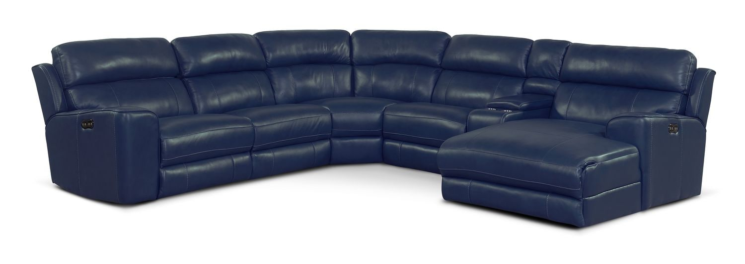 Newport 6-Piece Power Reclining Sectional with Right-Facing Chaise and 2 Recliners - Blue