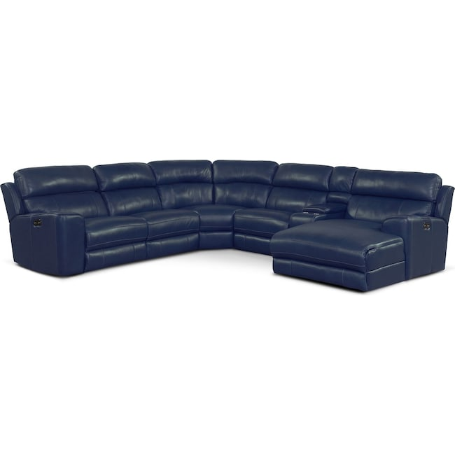 Living Room Furniture - Newport 6-Piece Power Reclining Sectional with Right-Facing Chaise and 2 Recliners - Blue