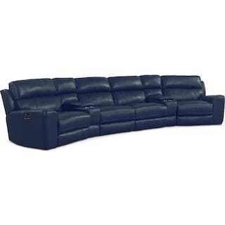 Newport 6-Piece Power Reclining Sectional with Wedge Consoles - Blue