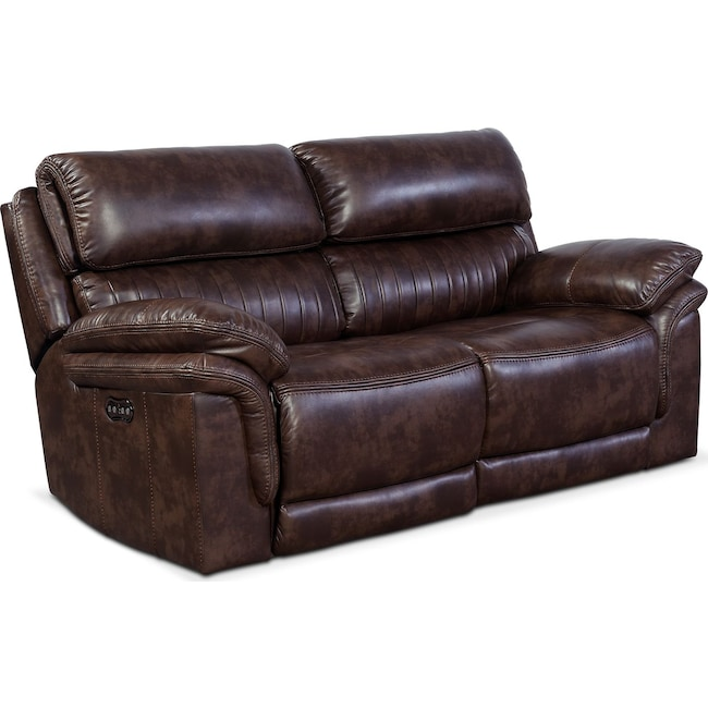 Living Room Furniture - Monterey 2-Piece Power Reclining Loveseat - Chocolate