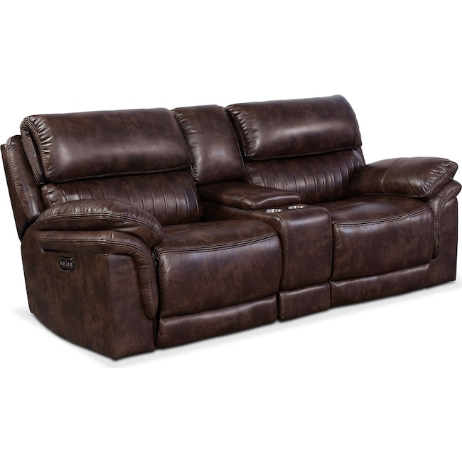 Living Room Furniture - Monterey 3-Piece Power Reclining Sofa with Console - Chocolate