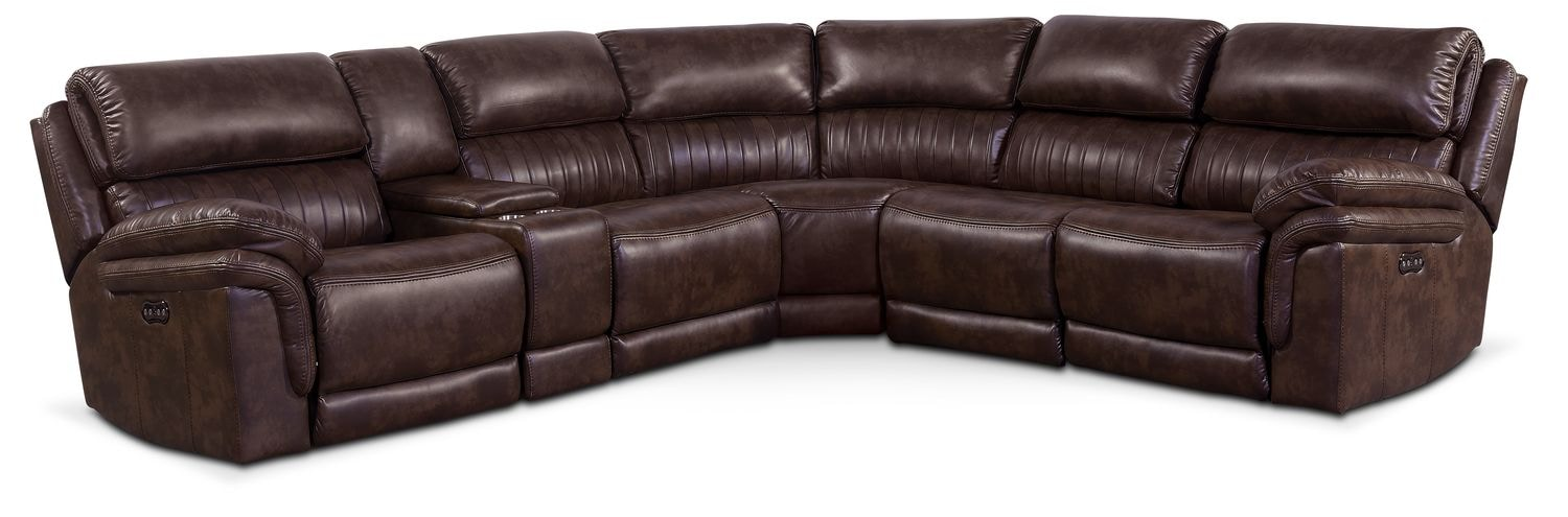 Living Room Furniture - Monterey 6-Piece Power Reclining Sectional with Three Reclining Seats - Chocolate