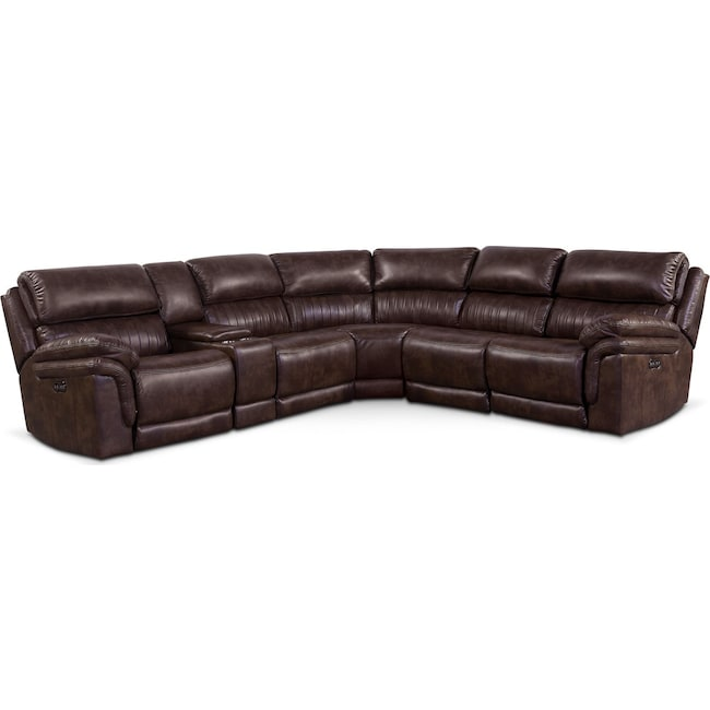 Living Room Furniture - Monterey 6-Piece Power Reclining Sectional with 3 Reclining Seats - Chocolate