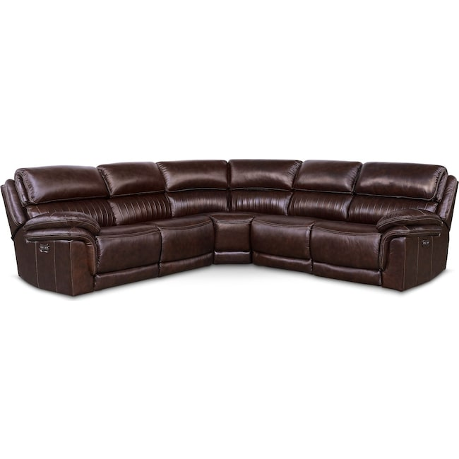 Living Room Furniture - Monterey 5-Piece Power Reclining Sectional with 3 Reclining Seats - Chocolate