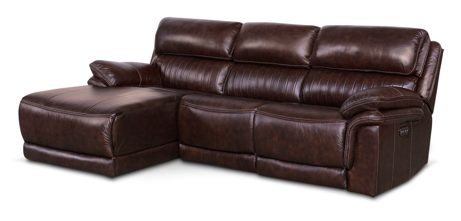 Living Room Furniture - Monterey 3-Piece Power Reclining Sectional with Left-Facing Chaise - Chocolate
