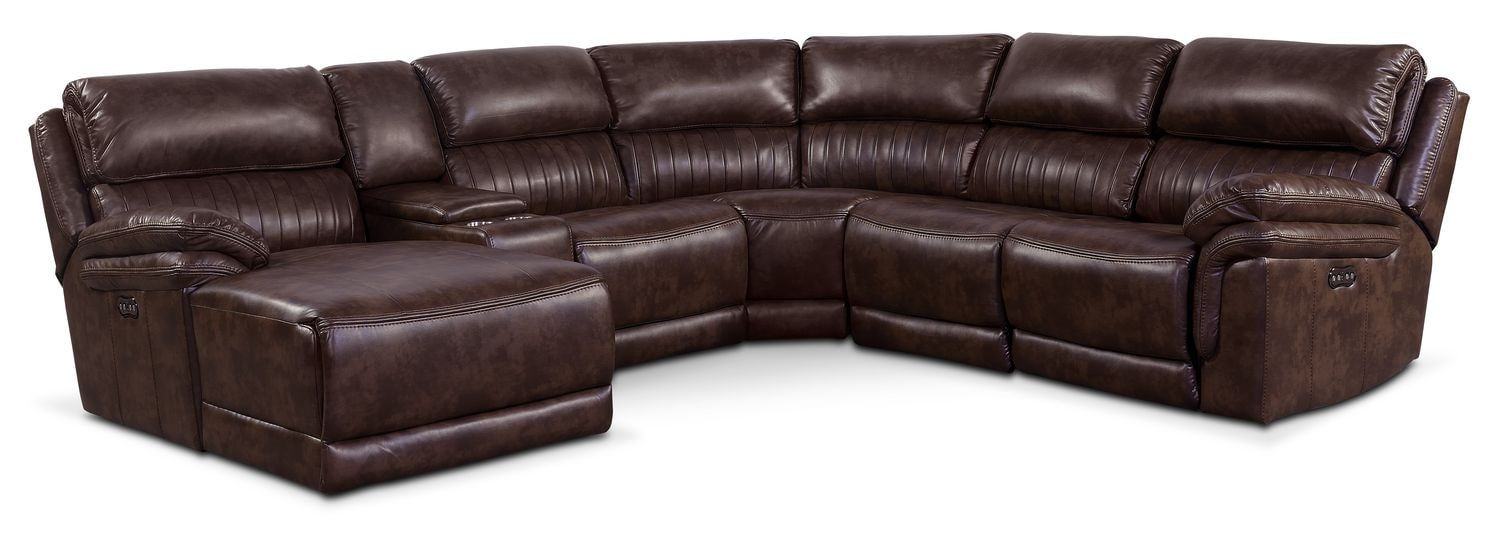 Living Room Furniture - Monterey 6-Piece Power Reclining Sectional with Left-Facing Chaise and 2 Recliners - Chocolate