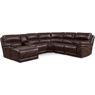 Monterey 6-Piece Power Reclining Sectional with Left-Facing Chaise and 2 Recliners - Chocolate