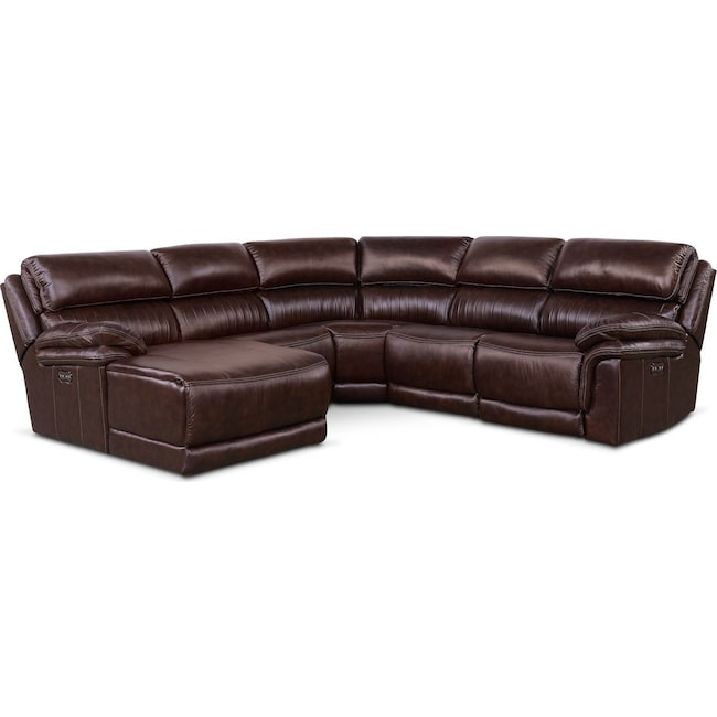 Living Room Furniture - Monterey 5-Piece Power Reclining Sectional with Left-Facing Chaise and 1 Recliner - Chocolate