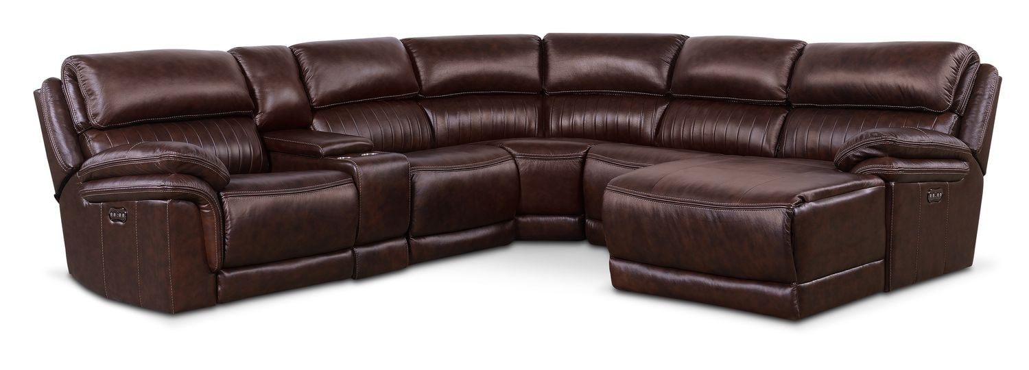 Monterey 6-Piece Power Reclining Sectional with Right-Facing Chaise and 1 Recliner - Chocolate