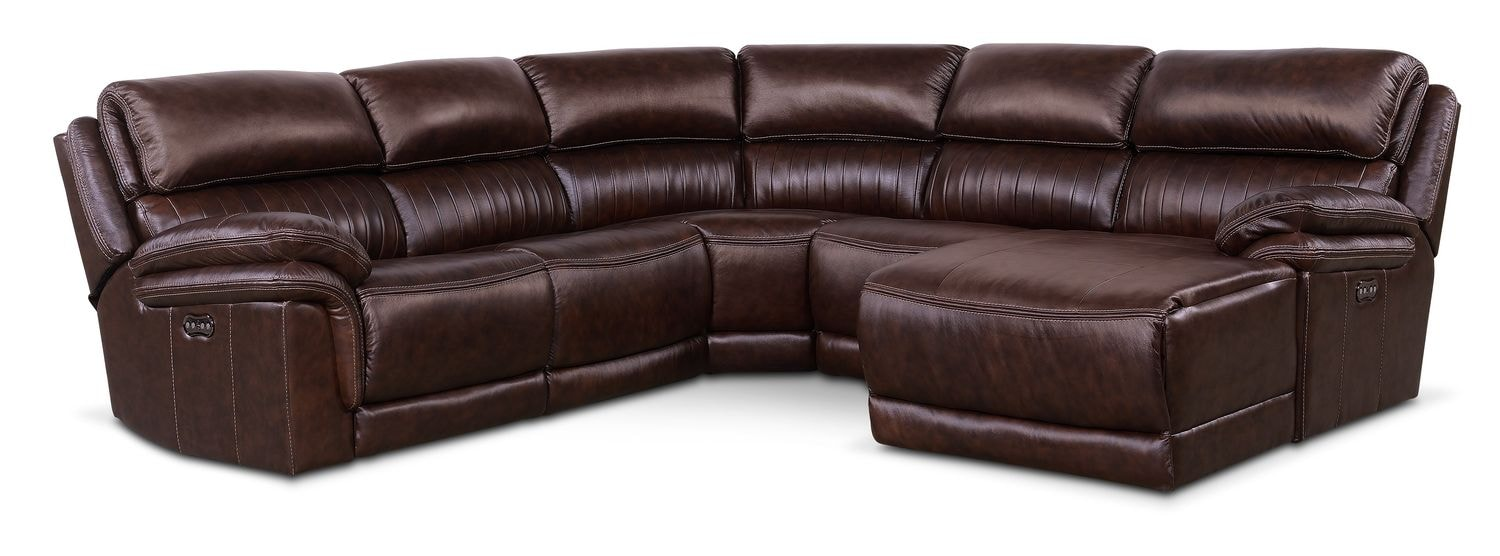 Living Room Furniture - Monterey 5-Piece Power Reclining Sectional with Right-Facing Chaise and 1 Recliner - Chocolate