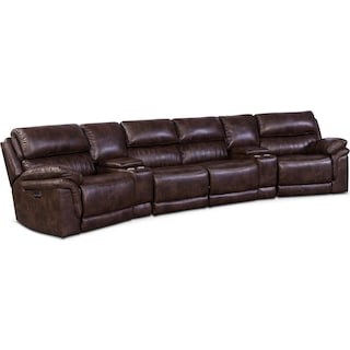 Monterey 6-Piece Power Reclining Sectional with 2 Wedge Consoles - Chocolate