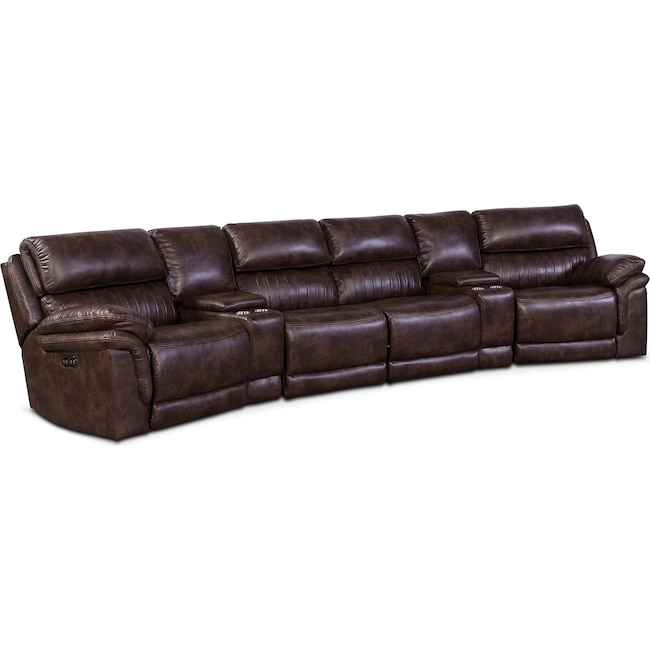 Living Room Furniture - Monterey 6-Piece Power Reclining Sectional with 2 Wedge Consoles - Chocolate