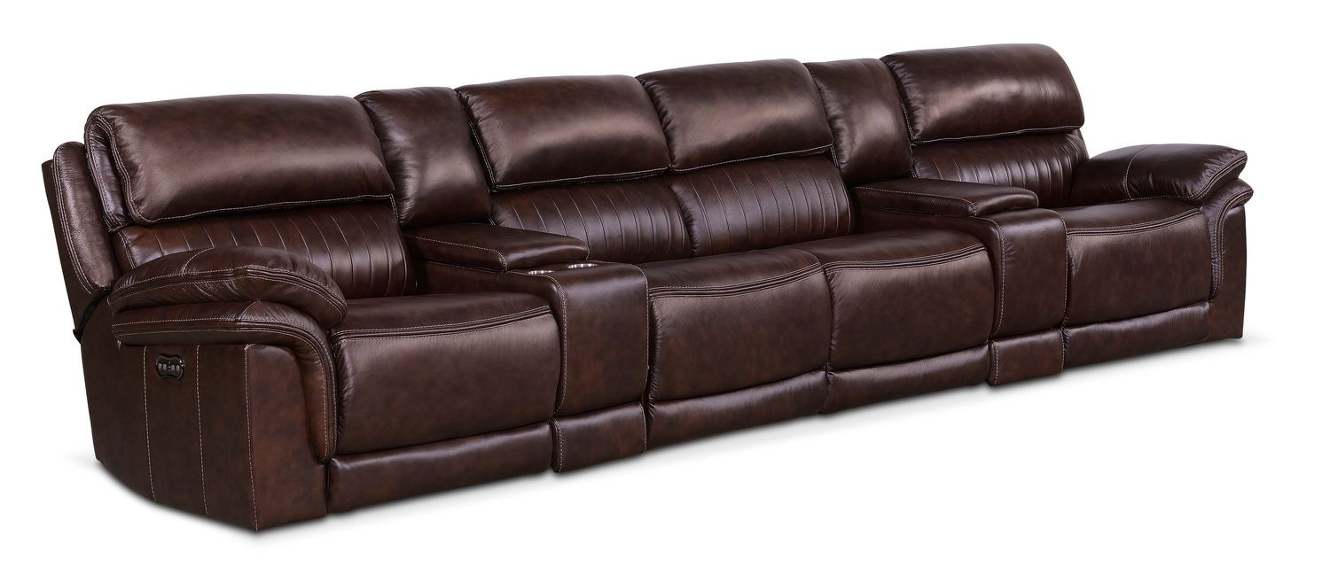 Living Room Furniture - Monterey Power Reclining Sectional with 4 Reclining Seats - Chocolate