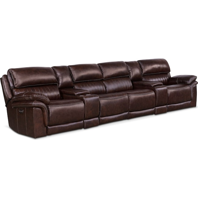 Living Room Furniture - Monterey 6-Piece Power Reclining Sectional with 4 Reclining Seats - Chocolate