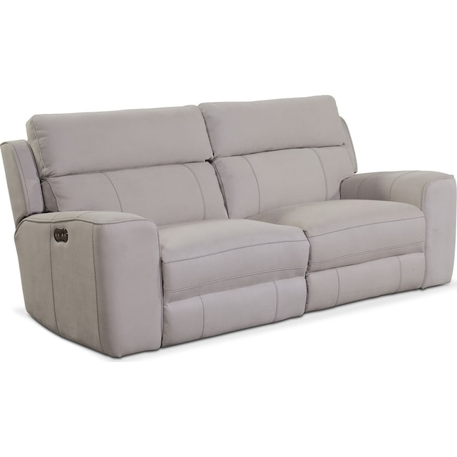 Living Room Furniture - Newport 2-Piece Power Reclining Sofa - Light Gray
