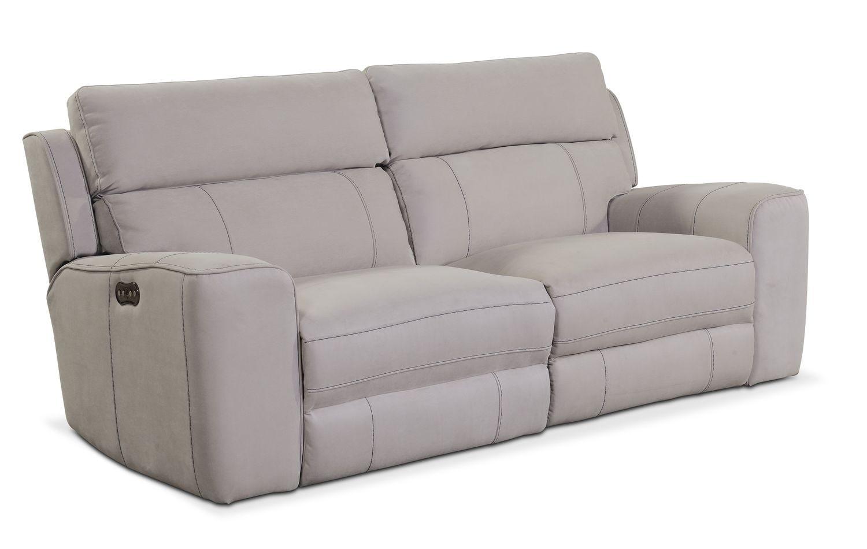 Living Room Furniture   Newport 2 Piece Power Reclining Sofa   Light Gray