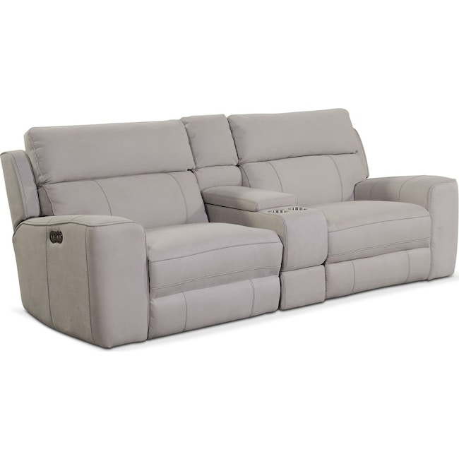 Living Room Furniture - Newport 3-Piece Power Reclining Sofa with Console - Light Gray