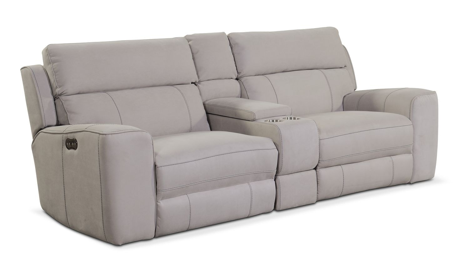 Living Room Furniture   Newport 3 Piece Power Reclining Sofa With Console    Light Gray