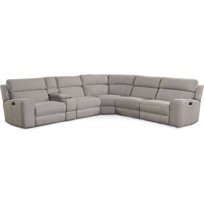 Living Room Furniture - Newport 6-Piece Power Reclining Sectional with 3 Reclining Seats - Light Gray