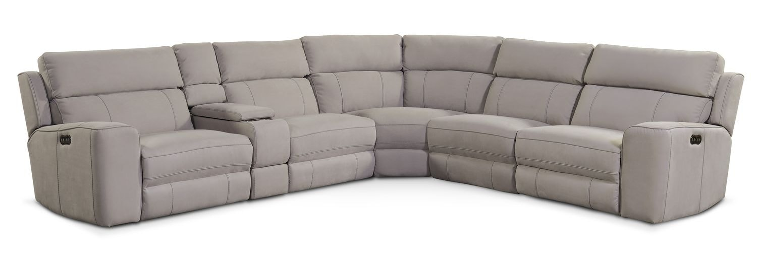 Living Room Furniture   Newport 6 Piece Power Reclining Sectional With 3  Reclining Seats
