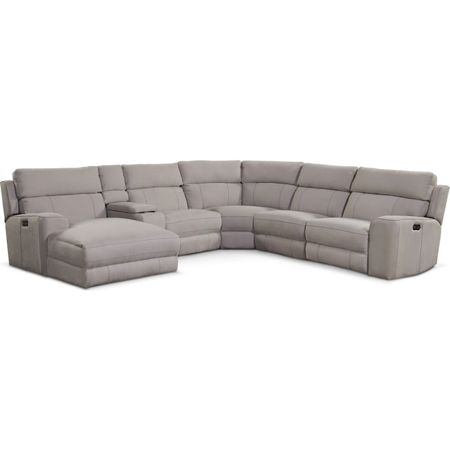 Living Room Furniture Newport 6 Piece Reclining Sectional With Left Facing Chaise
