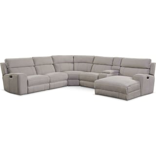 Newport 6-Piece Power Reclining Sectional with Right-Facing Chaise and 2 Recliners - Light Gray
